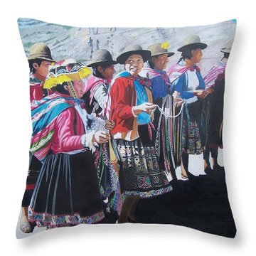 Peruvian Ladies Throw Pillow