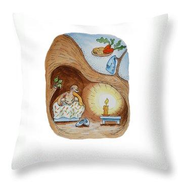 Peter Rabbit And His Dream Throw Pillow by Irina Sztukowski