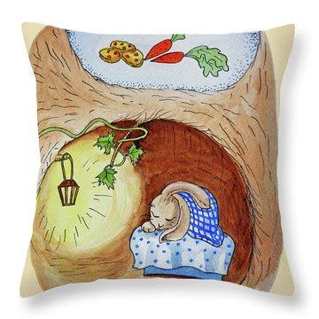 Peter Rabbit Watercolor Illustration I Throw Pillow