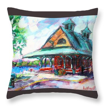 Throw Pillow featuring the painting Pewaukee Depot by Les Leffingwell