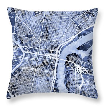 Philadelphia Pennsylvania City Street Map Throw Pillow by Michael Tompsett