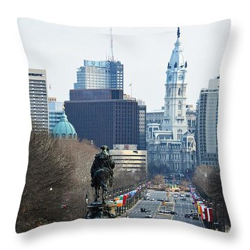 Philadelphia - The Parkway Throw Pillow by Cindy Manero