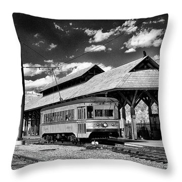Throw Pillow featuring the photograph Philadelphia Trolley by Paul W Faust - Impressions of Light