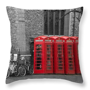 Phonebox In Red Throw Pillow by David Warrington