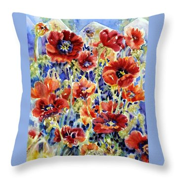 Picket Fence Poppies Throw Pillow