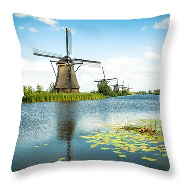 Throw Pillow featuring the photograph Picturesque Kinderdijk by Hannes Cmarits