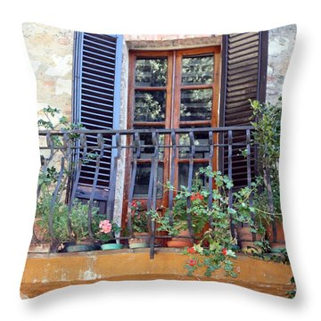 Throw Pillow featuring the photograph Pienza Balcony by Pat Purdy