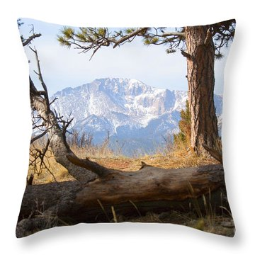 Pikes Peak And Trail To Bald Mountain Throw Pillow