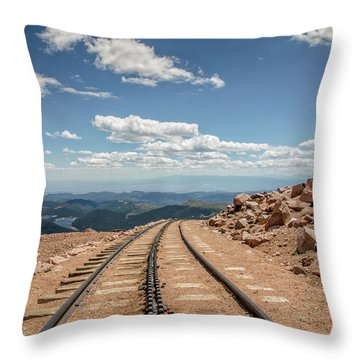 Pikes Peak Cog Railway Track At 14,110 Feet Throw Pillow by Peter Ciro