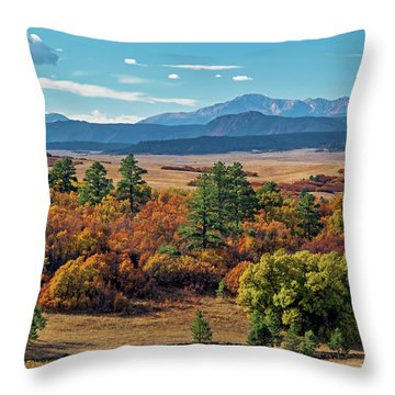 Pikes Peak Over Scrub Oak Throw Pillow