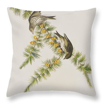 Pine Finch Throw Pillow by John James Audubon