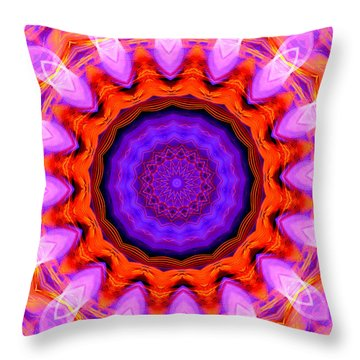 Pink 16-petals Kaleidoscope Throw Pillow by Ernst Dittmar