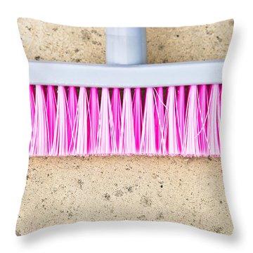Pink Broom Throw Pillow