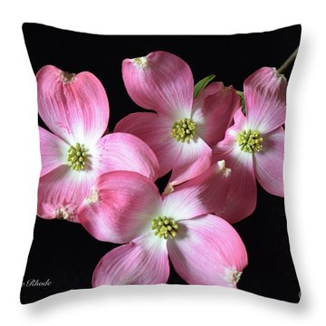 Pink Dogwood Branch Throw Pillow