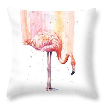Pink Flamingo - Facing Right Throw Pillow