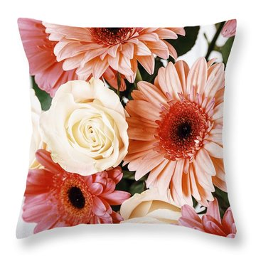 Pink Gerbera Daisy Flowers And White Roses Bouquet Throw Pillow by Radu Bercan
