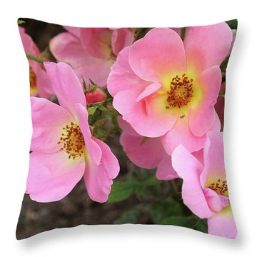 Pink Knockout Roses Throw Pillow by Ellen Tully