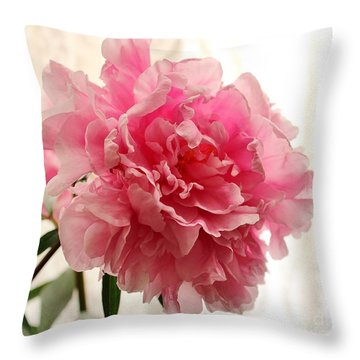 Pink Peony 2 Throw Pillow by Katy Mei