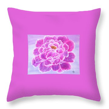 Throw Pillow featuring the painting Pink Peony by Sonya Nancy Capling-Bacle
