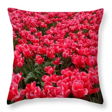 Pink Tulips Throw Pillow by Karen Molenaar Terrell