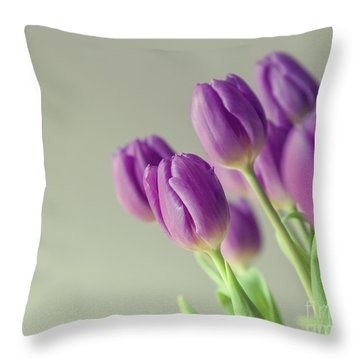 Pink Tulips Throw Pillow by Patricia Hofmeester