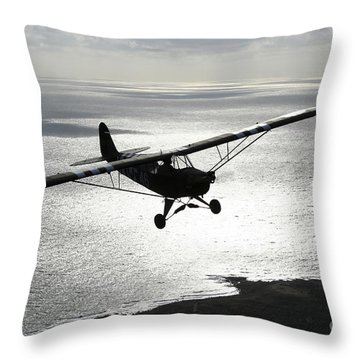 Piper L-4 Cub In Us Army D-day Colors Throw Pillow by Daniel Karlsson