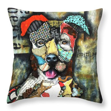 Pit Bull Throw Pillow by Patricia Lintner
