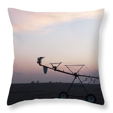 Pivot Irrigation And Sunset Throw Pillow by Art Whitton
