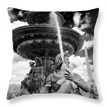 Throw Pillow featuring the photograph Place De La Concorde Fountain by Heidi Hermes