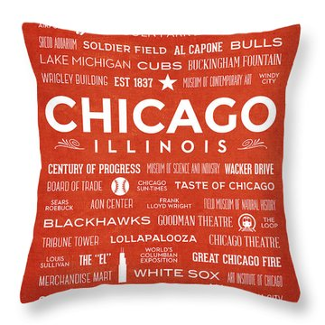 Throw Pillow featuring the digital art Places Of Chicago On Orange Chalkboard by Christopher Arndt