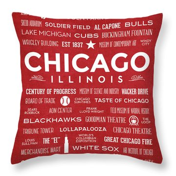 Throw Pillow featuring the digital art Places Of Chicago On Red Chalkboard by Christopher Arndt