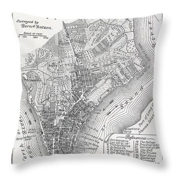 Plan Of The City Of New York Throw Pillow by American School
