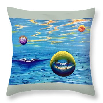 Planet Surf  Throw Pillow