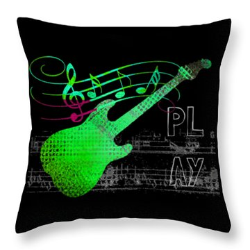 Throw Pillow featuring the digital art Play 3 by Guitar Wacky