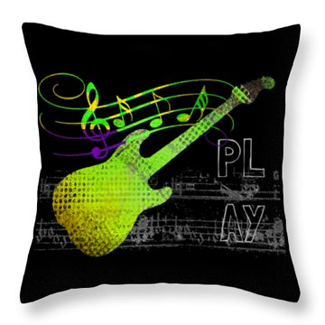 Throw Pillow featuring the digital art Play 1 by Guitar Wacky