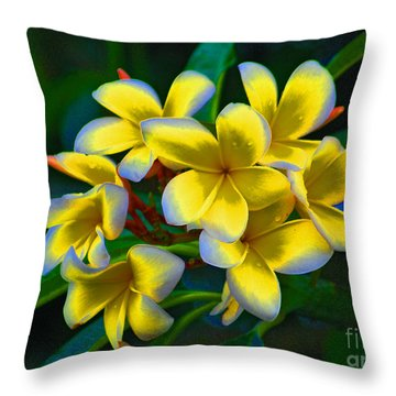 Throw Pillow featuring the photograph 1- Plumeria Perfection by Joseph Keane