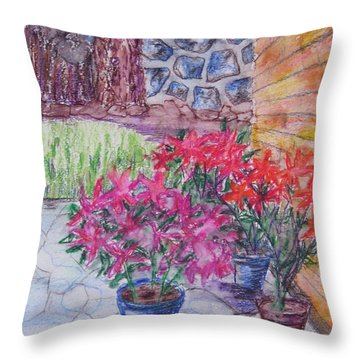 Poinsettias - Gifted Throw Pillow by Judith Espinoza