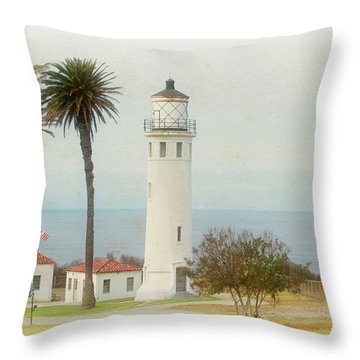 Point Vincente Lighthouse, California In Retro Style Throw Pillow
