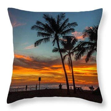 Poipu Beach Sunset - Kauai Hi Throw Pillow
