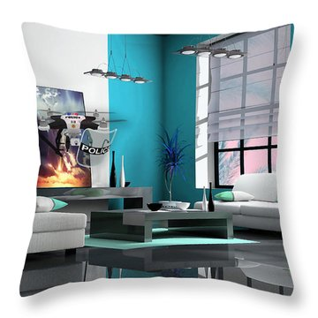 Police Drone Art Throw Pillow by Marvin Blaine