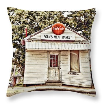 Polk's Meat Market Throw Pillow by Scott Pellegrin