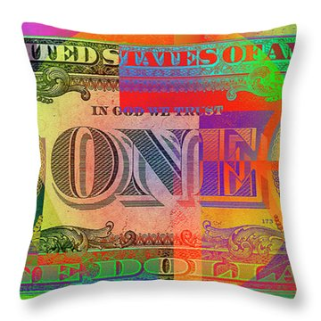 Pop-art Colorized One U. S. Dollar Bill Reverse Throw Pillow