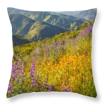 Poppies And Lupine Throw Pillow by Marc Crumpler