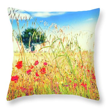 Throw Pillow featuring the photograph Poppies With Tree In The Distance by Silvia Ganora