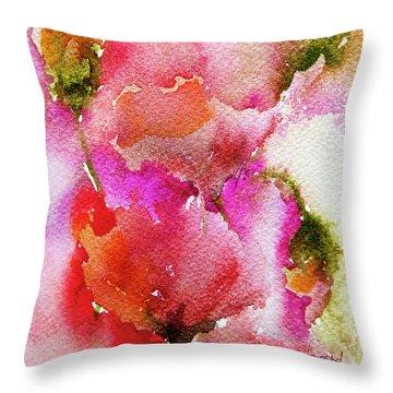 Poppy Garden Throw Pillow by Linde Townsend