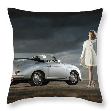 Porsche 356 Speedster With Model Throw Pillow