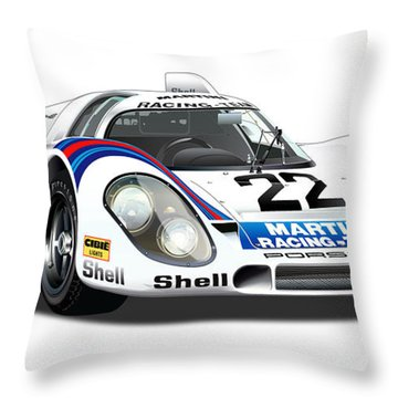Porsche 917 Illustration Throw Pillow
