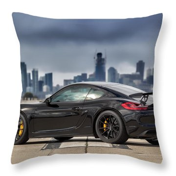 #porsche #cayman #gt4 Throw Pillow