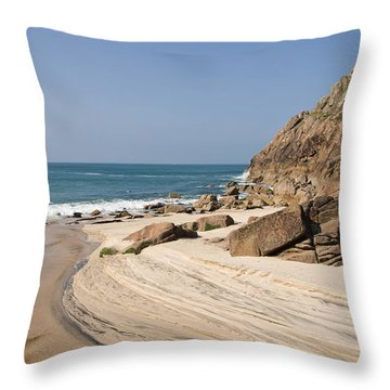 Portheras Beach In Nw Cornwall Throw Pillow
