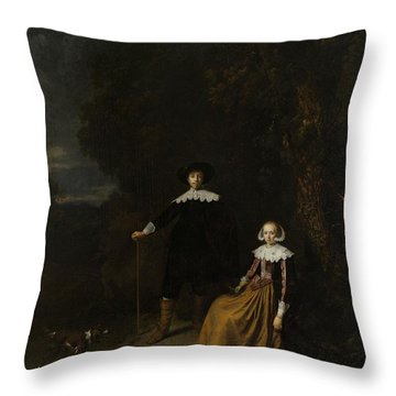 Portrait Of A Couple In A Landscape Throw Pillow by Gerard Dou